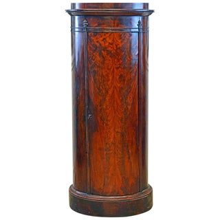 Scandinavian 19th Century Figured Flame Mahogany Oval Pedestal Cabinet For Sale