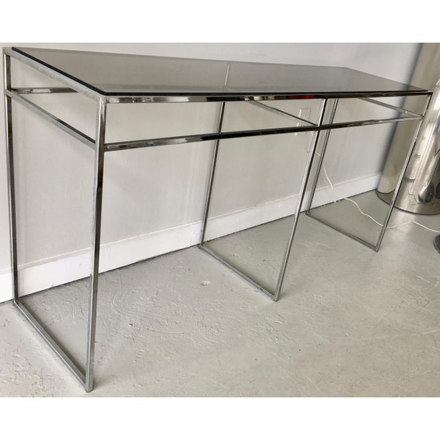 Mid 20th Century Milo Baughman Chrome and Smoked Glass Console For Sale - Image 5 of 6