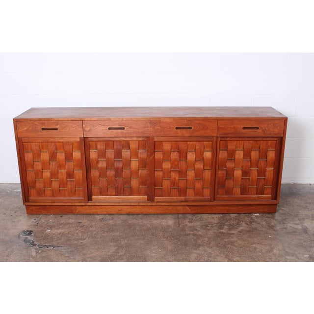 Mid-Century Modern Woven Front Cabinet by Edward Wormley for Dunbar For Sale - Image 3 of 10