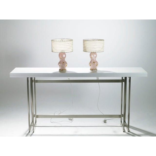 1960s Midcentury Pair of French Pink Ceramic Lamps, 1960s For Sale - Image 5 of 11