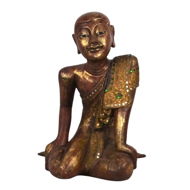 Vintage Thai Wooden Buddha In Wood For Sale In Los Angeles - Image 6 of 6