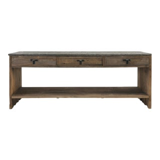 3 Drawer Stone & Elm Console Table For Sale