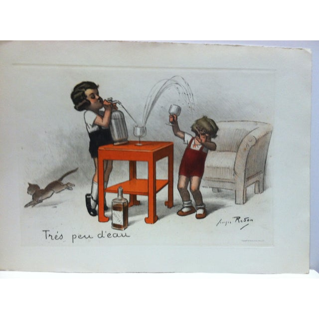 """This is a Vintage Hand-Colored Print that is titled """"Tres Peu D' Eau"""" by Reson. The Print is dated 1939. The Print is in..."""