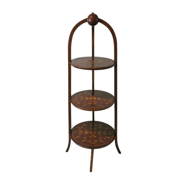 Late 19th Century Antique Marquetry Inlaid Mahogany Muffineer Stand For Sale