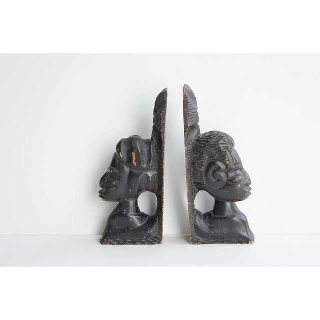 Antique Hand Carved Wooden Bookends - Image 2 of 4