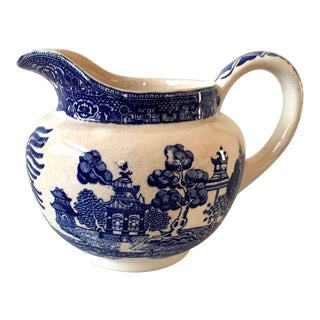 Antique Blue Willow Pitcher For Sale