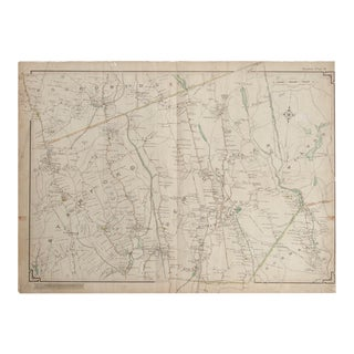 Vintage Map of Pound Ridge Ny and New Canaan Ct For Sale
