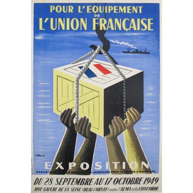 1949 Original French Exhibition Poster - Pour L'équipement De l'Union Française - Villemot For Sale - Image 6 of 6