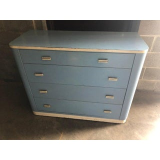 Dresser Lowboy by Norman Bel Geddes for Simmons Circa 1930s, Baby Blue and White Preview