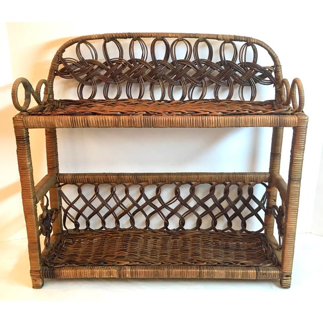 Brown Vintage Wicker Hanging Shelf For Sale - Image 8 of 8