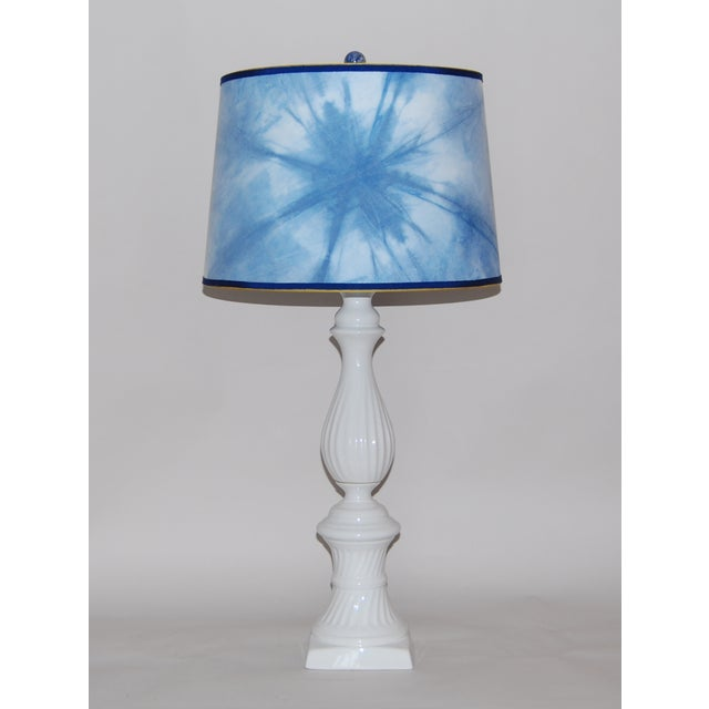 Ceramic Column Lamp With Shibori Lampshade - Image 2 of 5