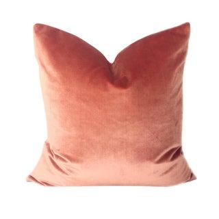 Italian Salmon Brut Silk Velvet Pillow For Sale