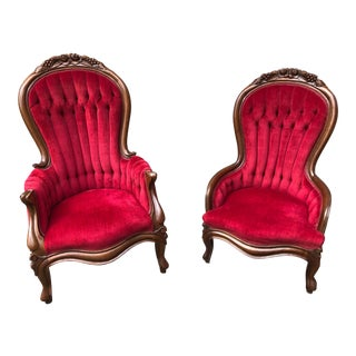 Vintage Mid Century Victorian King and Queen Parlor Chairs- A Pair For Sale