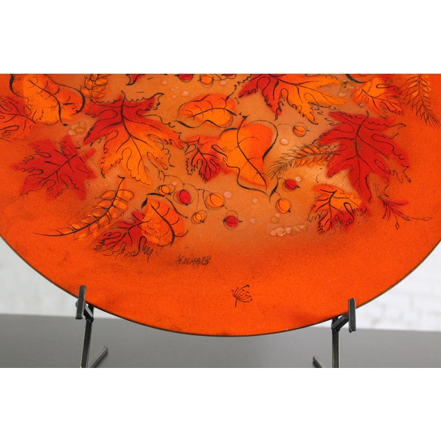 Sascha Brastoff Mid-Century Orange Leaves Enamel Charger - Image 10 of 11