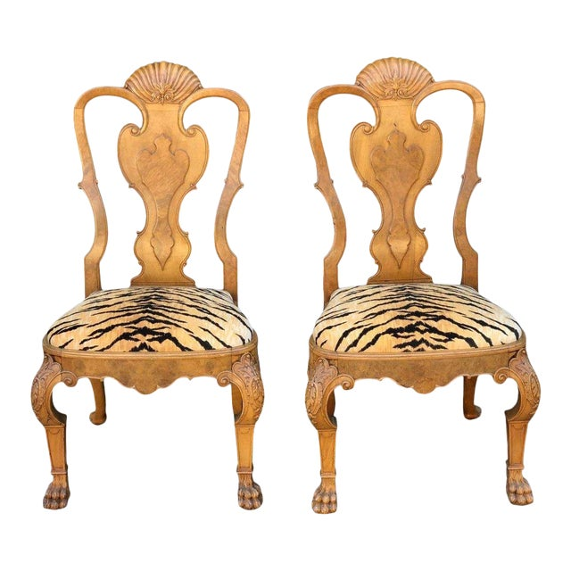 Pair of Antique Chippendale Style Chairs W Clarence House Tiger Seats For Sale
