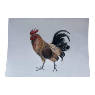 """Island Rooster"" Original Colored Pencil Drawing For Sale"