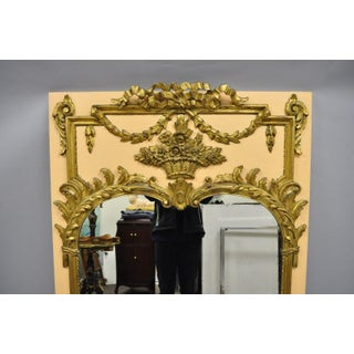 French Louis XV Style Large Peach & Gold Gilt Wood Trumeau Wall Mirror Preview