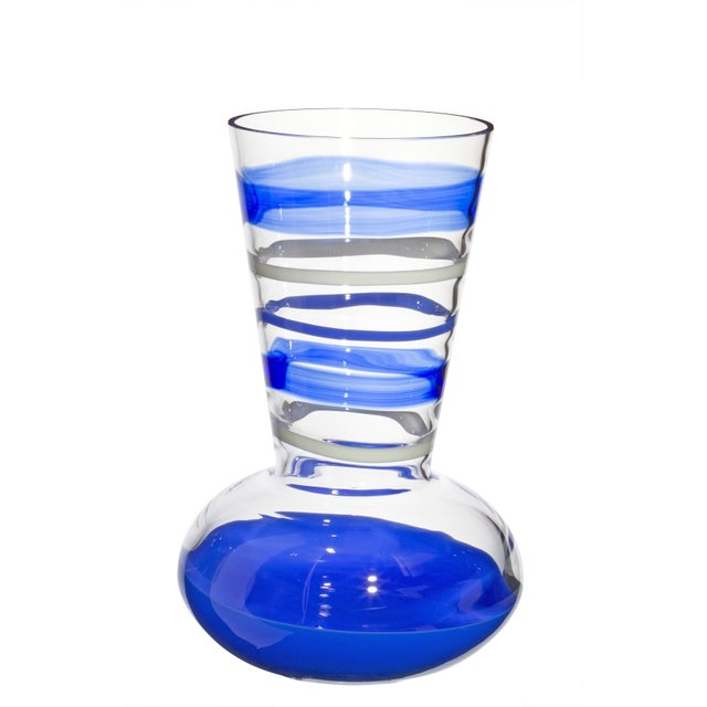 Modern Carlo Moretti Troncosfera Vase in Lapis, Ivory, and Blue For Sale - Image 3 of 3