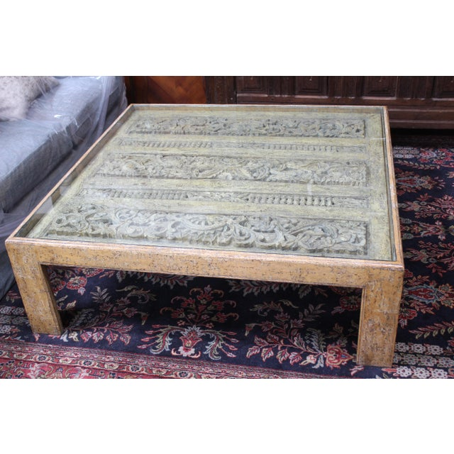 1970s Antique Indian Architectual Fragment Custom Coffee Table For Sale - Image 5 of 8
