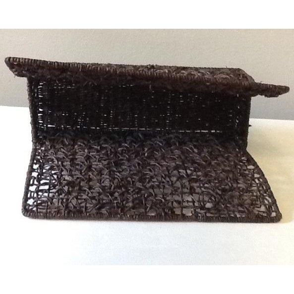 Tribal Vintage Brown Wicker Magazine Stand For Sale - Image 3 of 7