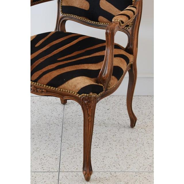 1950s Carved Hardwood & Tiger Cowhide Upholstered Armchair For Sale - Image 12 of 13