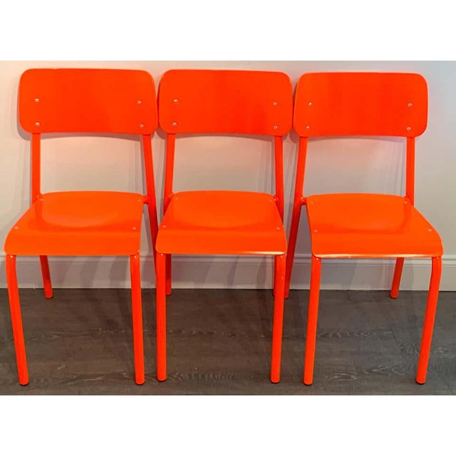 Metal Declercq Mobilier Modern Ml45 Neon Red Chairs - Set of 6 For Sale - Image 7 of 13