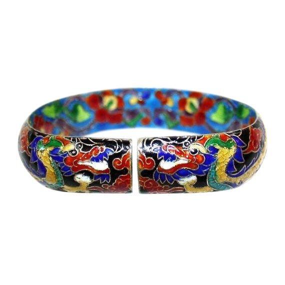 Chinese Cloisonné Enamel Dragon Bangle - Chinese Bracelet - Dragon Bracelet - Vintage Chinese Jewelry - Enameled Chinese Bracelet For Sale