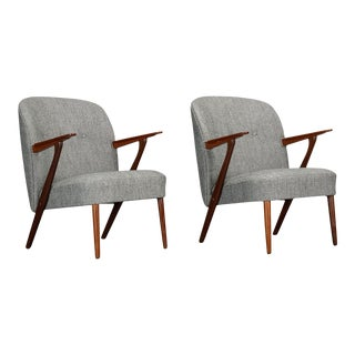 Danish Gray Armchairs by Kurt Olsen for Slagelse Møbelværk, 1950s - a Pair For Sale