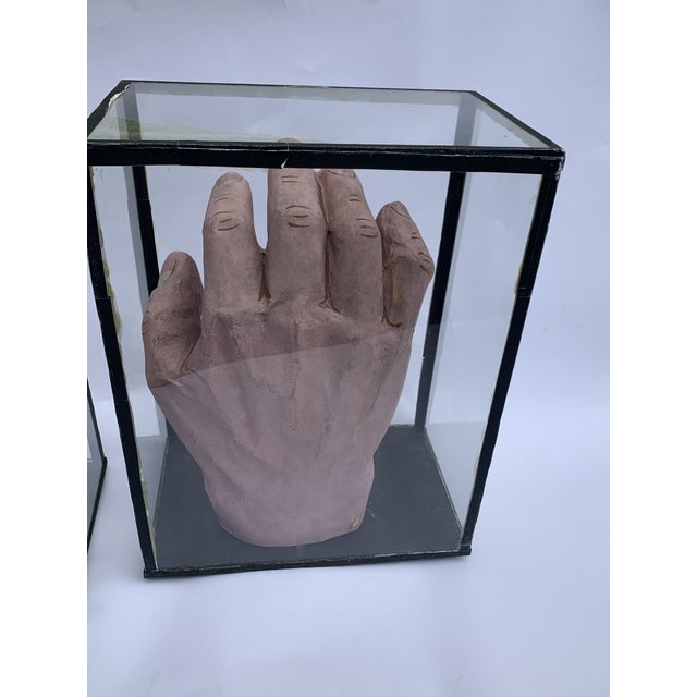 1950s Vintage Educational Model Hands in Glass Display Cabinets - a Pair For Sale - Image 4 of 7