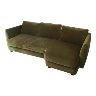 Contemporary Dellarobbia Plush Velvet Sofa With Piano End For Sale