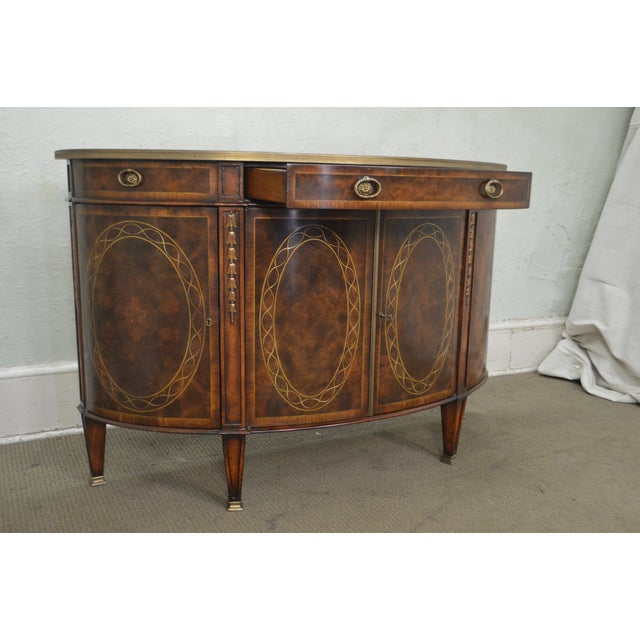 Hollywood Regency Theodore Alexander Inlaid Burl Wood Demilune Bow Front Side Cabinet Console For Sale - Image 3 of 13