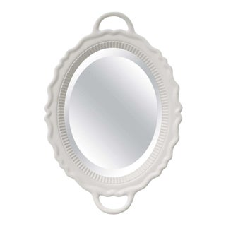 White Oval Plateau Mirror For Sale