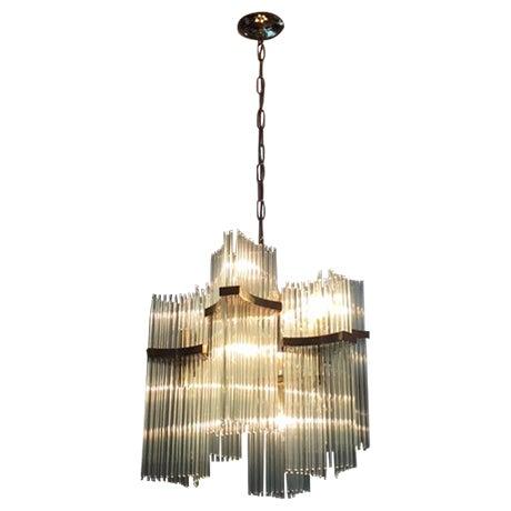 Lightolier Brass & Glass Sciolari Chandelier - Image 1 of 5