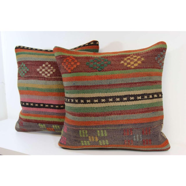 Turkish Kilim Pillow Covers - A Pair - Image 4 of 6