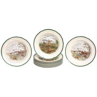 12 Hunt Plates, Copeland Spode, Vintage With Dark Green Trim For Sale