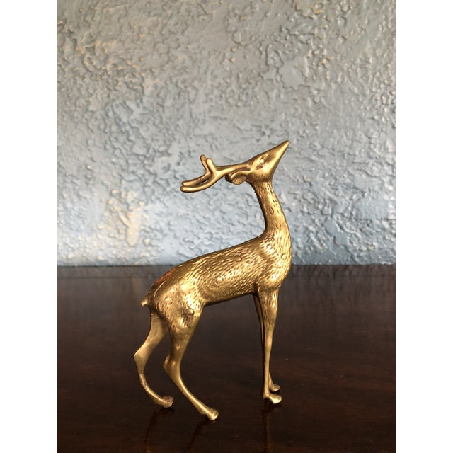 Tall Brass Reindeer Deer Figurine For Sale - Image 4 of 4