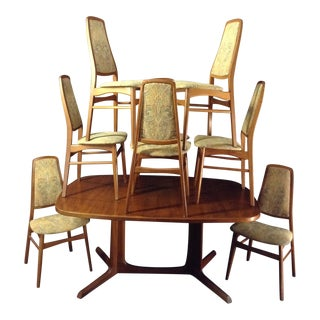 1970s Vintage Danish Solid Teak Two Leaf Double Pedestal Dining Set For Sale