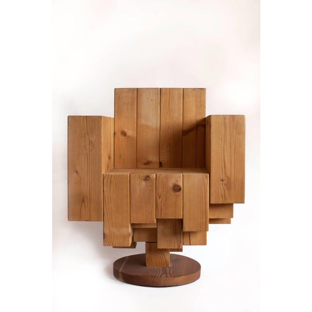 Contemporary Giorgio Marian Italian Sculptural Cubist Pine Wood Armchair For Sale - Image 3 of 8
