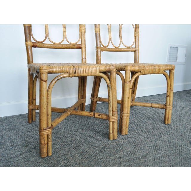 Antique 1920's Bamboo & Rattan Chairs - A Pair For Sale - Image 4 of 10