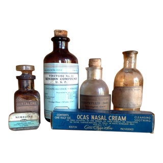 Country Doctors Medicine Bottles & Wood Trays, Antique Medical Supplies For Sale