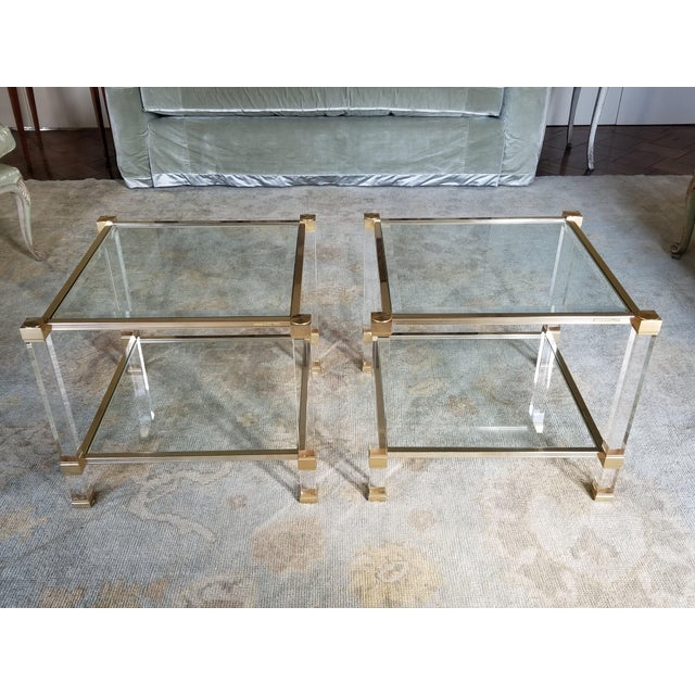 """Metal 1970's Signed """"Pierre Vandel"""" Lucite & Gilded Metal End Tables Pair For Sale - Image 7 of 7"""
