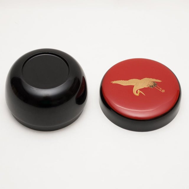 Japanese Lacquered Black Painted Wood Tea Caddy in a Wood Box For Sale In Dallas - Image 6 of 13