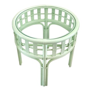 1960s Boho Chic Laduree Green Rattan Round Side Table For Sale