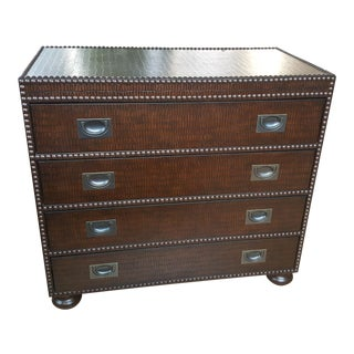 Bernhardt Leather Embossed Faux Alligator With Nailheads Dresser