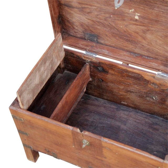 Early 20th Century Wooden Campaign Trunk - Image 4 of 6