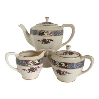 "Teapot with Creamer and Sugar ""Ming"" with Bird by Lenox - Set of 3"