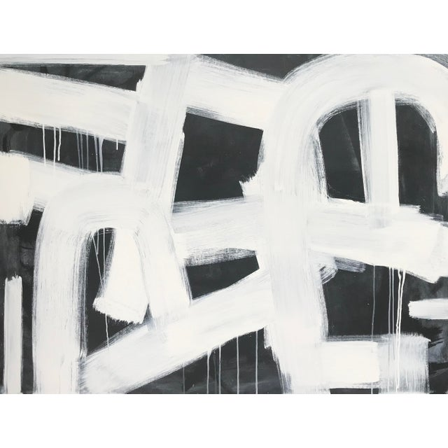 "Contemporary Contemporary Black and White Painting by Sarah Trundle, ""Paint It Black"" For Sale - Image 3 of 4"
