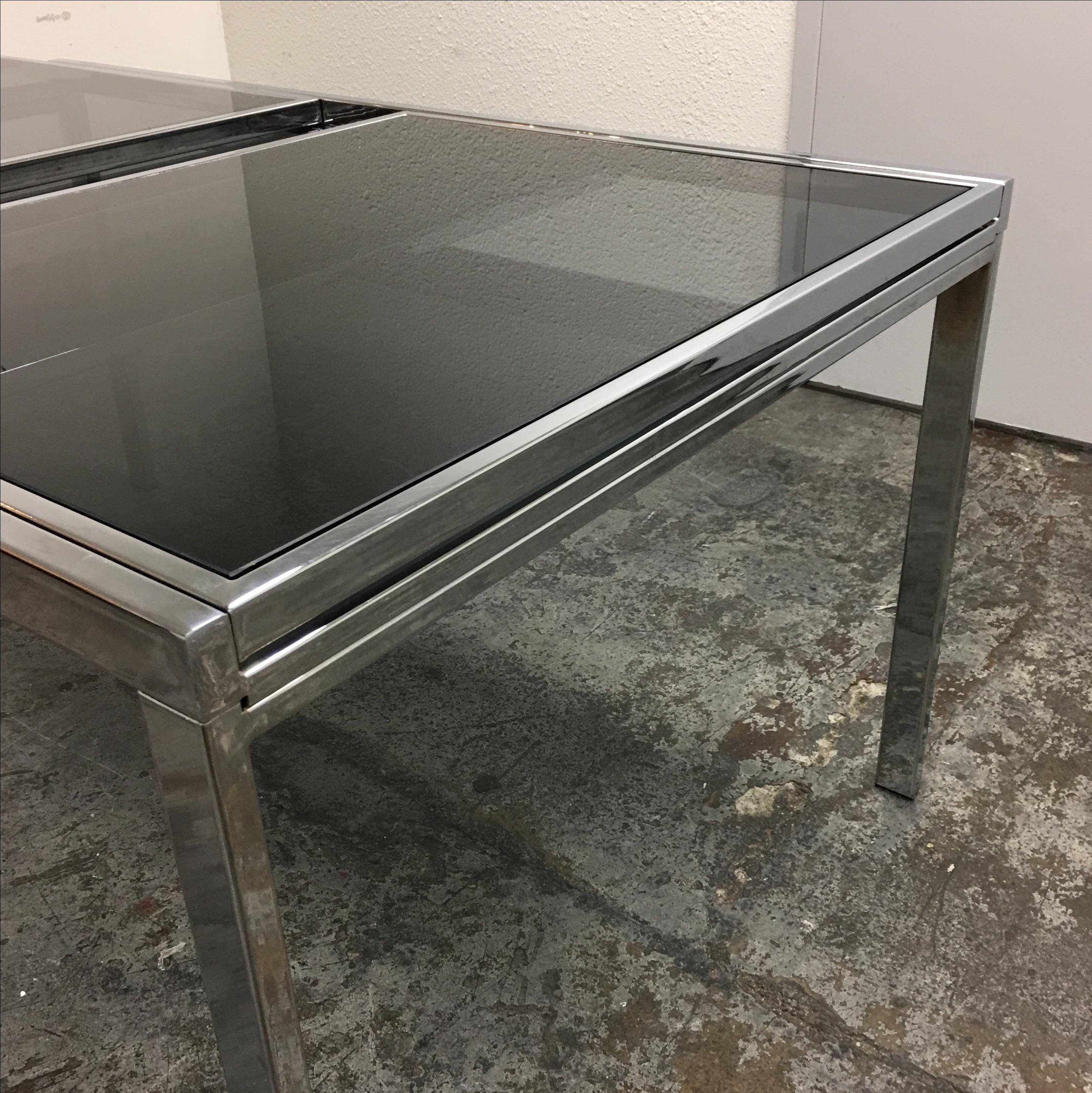 Mid Century Chrome U0026 Smoked Glass Dining Table   Image 5 Of 10