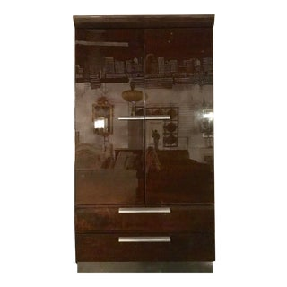 Italian High Gloss Walnut Armoire For Sale