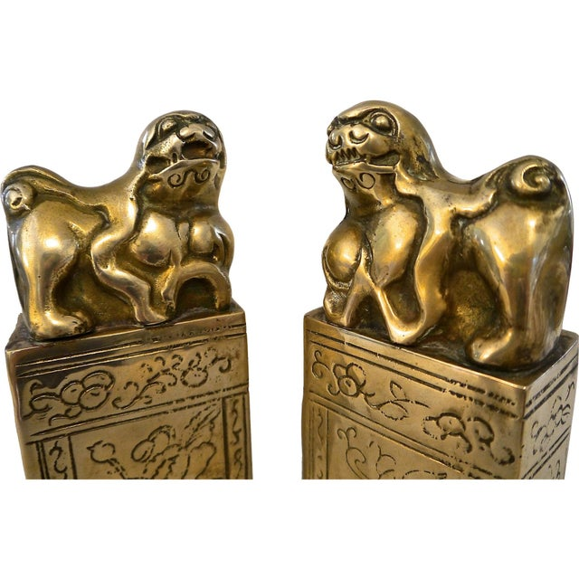 Metal Brass Foo Dog Bookends For Sale - Image 7 of 7